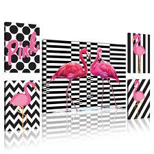 SET (5 teilig) CANVAS Leinwand Bild Modern Flamingo Streifen Vogel 11156 S14