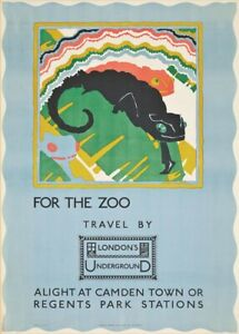 For the Zoo, 1922, Art Deco English Travel London Underground Poster