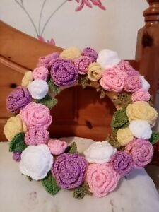 Hand Crocheted Wreath With Roses