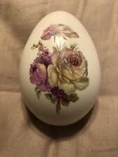 Eggzakly Handcrafted Porcelain Collectible Egg Made In Usa Floral Flower Rose