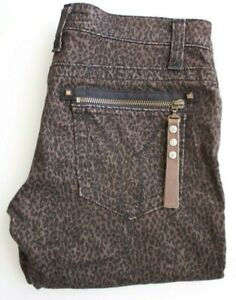 miss sixty size 26 Leopard Print Jeans Stretch Skinny Low Rise Brown Made Italy