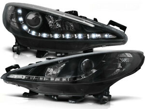 PEUGEOT 207 2006 2007 2008 2009 HEADLIGHTS LPPE23 DAYLIGHT BLACK