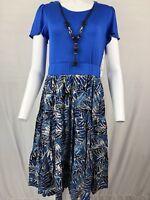 Elementz Women's Dress Size M/Medium Blue top & print bottom NWT