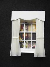 MINIATURE DOLLS HOUSE 12TH SCALE CURTAINS DRAPES PLAIN CREAM FABRIC 4 3/4 IN