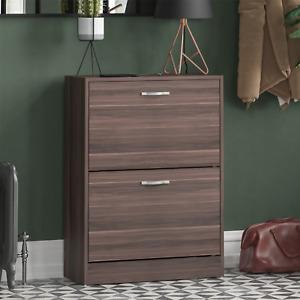 2 Drawer Shoe Cabinet Storage Cupboard Footwear Stand Rack Wooden Unit Walnut