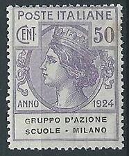 1924 REGNO PARASTATALI SCUOLE MILANO 50 CENT MNH ** - ED421-2