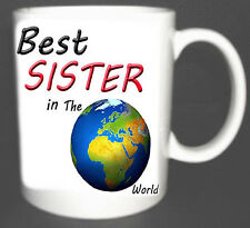 BEST SISTER IN THE WORLD COFFEE MUG.GIFT PERSONALISED WITH NAMES FREE OF CHARGE