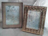 Photo frame Lot 2 Brass Copper shiny textured golden iridescent Art Decor geo