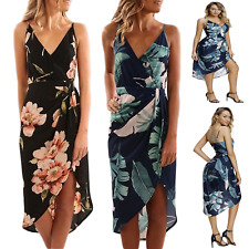 sexy mini abito vestito con stampa floreale scollo a V profondo spacco davanti v