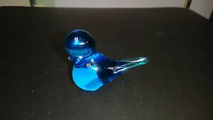 Vintage=ENERYDA=Blue Bird Figurine=Glass=Sweden=NR=