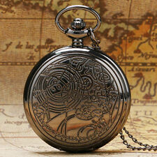 Doctor Who Pocket Watch Time Lord Glass Tibet Silver Bronze Black Chain Necklace