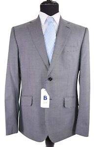 Hardy Amies NWT Sport Coat Size 42R In Gray & Black Micro Check 100 % Wool