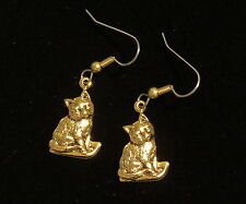Cat Earrings 24 Karat Gold Plate Kitten Kitty Cats Kittens