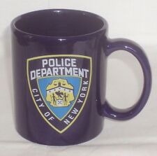NYPD CITY OF NEW YORK POLICE DEPARTMENT WHITE 11 OZ COFFEE MUG ~ COBALT BLUE