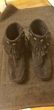 Women's Minnetonka Double Fringe Size 8 Zip Boot 699 - Black