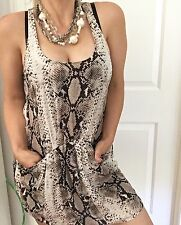 WITCHERY WOMENS DRESS PURE SILK SNAKE PRINT SEXY SUMMER POCKETS SZ 10