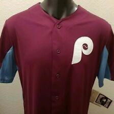 Men's MIKE SCHMIDT Philadelphia Phillies MAROON 80s Throwback Button Jersey - XL