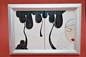 Deborah Wood Art Deco Style Double Tile Framed Picture
