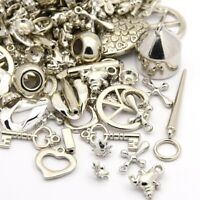 100 Kunststoff Anhänger Mix Silber CCB Acryl Perlen für Halskette Charm D137