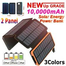 Solar Power Bank 2 Panel Qi Portable Charger100000mAh External Battery Pack USB✅