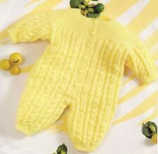 Knitting Pattern Baby's Cute Cable DK Romper Suit 3-12 Months      (13)