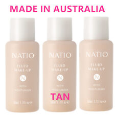3 Natio Fluid Make up With Moisturiser Tan Liquid Foundation Made in Australia