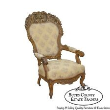 Rococo Revival Exceptional Carved Walnut Antique Victorian Arm Chair