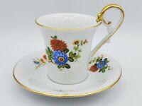 Vintage AK Kaiser Porcelain Tea Cup Saucer Set Floral Motif