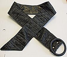 SELECT 'VINTAGE RETRO' GOTH PUNK RUCHED WET LOOK BELT WIDE WITH BUCKLE BLACK M/L