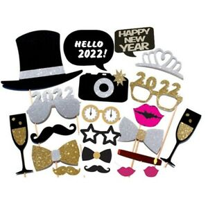 21PCS 2022 Happy New Year Eve Party Photo Booth Props Supplies With Frame