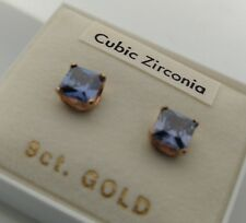 1 9ct gold butterfly fastened stud earring with a 5.5mm sq blue cubic zirconia