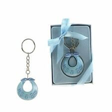 12pc ITS A BOY Blue Bib Keychain Keepsake Favors baby Shower Gifts Decorations