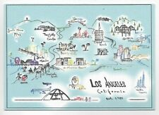 HAND DRAWN MAP POSTCARD~MAP OF LOS ANGELES,CA 2019