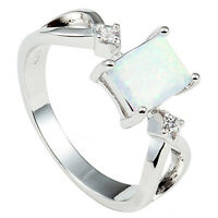 Size 4-12 Princess Cut Fire Opal Ring Wedding Engagement Propose Halo Party
