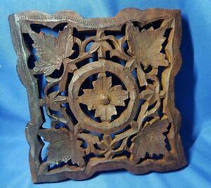 "Vintage Hand Carved Wood Trivet Plaque Accent Hearts Flowers 6 x 6"""