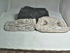 BEADED EVENING BAGS  (3)  ANTIQUE ART DECO BLACK, WHITE &CREAM GLASS assorted