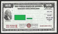 US WAR Savings Bond  Series E $25 JUL 1945 WASHINGTON  Uncanceled