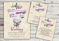 PERSONALISED RUSTIC WATERCOLOUR PURPLE BANNER WEDDING INVITATIONS (PACKS OF 10)