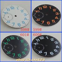 38.5mm Corgeut Black/White watch Dial for eta 6497 Seagull st36 movement watch