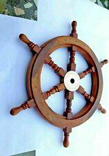 "30""Nautical Wooden Ship Steering Wheel Pirate Wood Brass Fishing Wall Decor Boat"