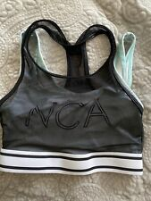 Varsity Brand Nca Cheer Sports Bra black with teal Adult Small