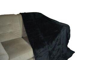 Black Fleece Sofa / Bed Honeycombe Waffle throw / blanket