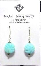 Sterling Silver Carved Teal PERUVIAN OPAL Dangle Earrings #6252...Handmade USA