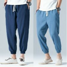 Retro Men Trousers Chinese Style Linen Blend Mid Waist Leisure Youth Harem Pants