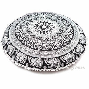 Cover Floor Cushion Mandala Pillow Throw Bohemian Indian Case Round Pillow Large