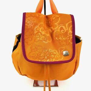 Haiku Mini Backpack Tangerine Clouds Raspberry Trim Recycled Drawstring Bag