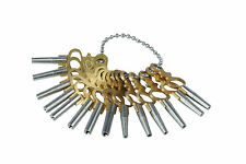 Set of 14 Pocket Watch Watchmakers Winding Keys, 00-12, on a Ball Keychain J1179