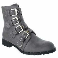 LADIES SHOES WOMENS STRAPPY BUCKLE STUDS ZIP LOW HEEL CHELSEA ANKLE BOOTS SIZE