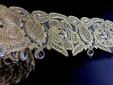 1 meter gold diamante lace trim beads mirrors ribbon border craft edge width 3""