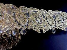 "1 meter gold diamante lace trim beads mirrors ribbon border craft edge width 3"""
